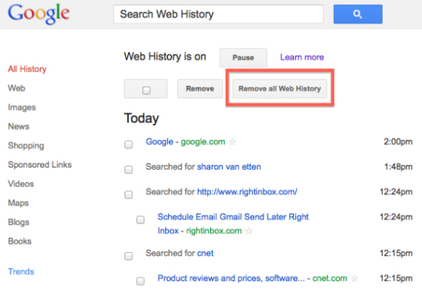 How to Delete Google Browsing History