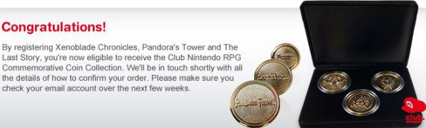 Wii RPG Coin Set (Club Nintendo Europe) for Pandora's Tower, Xenoblade Chronicles, The Last Story