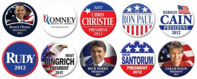 2012 Presidential Hopeful Buttons