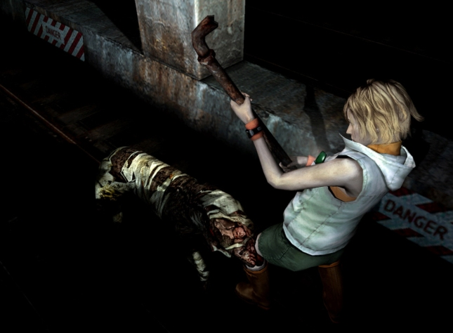 Dog enemy attacks Heather (Silent Hill 3 gameplay screenshot)
