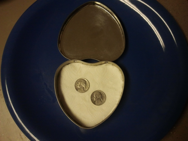 Two Nickels In A Tin Altoid Box Shaped Like A Heart Copyright SER 2012 WatchUsPlayGames