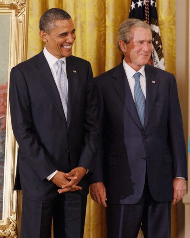 Obama and Bush Together Official George W. Bush Portrait Unveiling (May 31 2012)