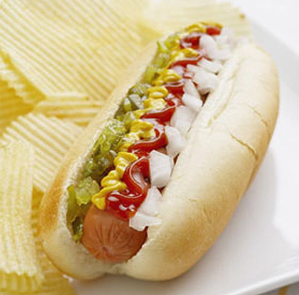 Hotdog With Condiments - Ketchup, Mustard, Relish and Onions