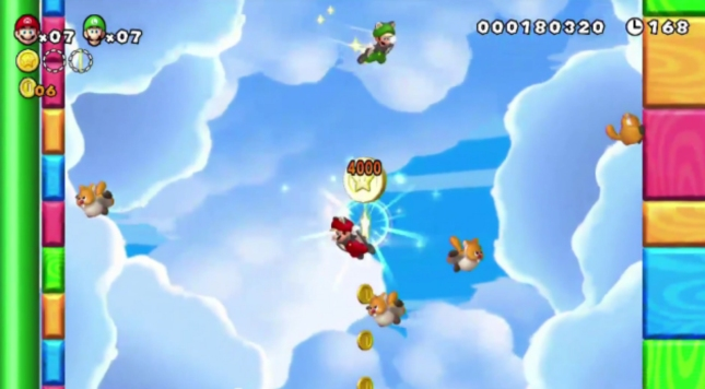 Star Coins Return. Flying Squirrel Luigi and Mario In New Super Mario Bros. U