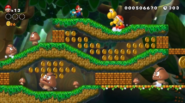 New Super Mario Bros. U Giant Koopa and Giant Goomba Screenshot!