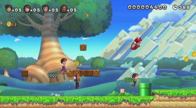 Big Mii's Collecting Super Mushroom Power-Ups In Super Mario Bros. U Screenshot