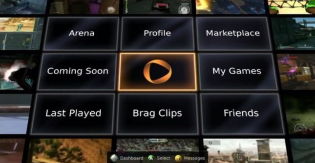 Onlive Videogame TV Menu. Imagine a no consoles future, gaming on your TV.