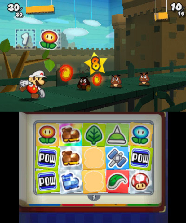 Paper Mario 3DS: Sticker Star Inventory Screenshot and Fire Mario