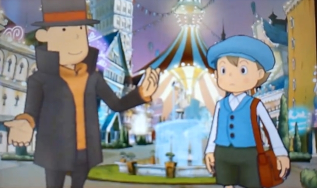 Professor Layton and the Miracle Mask Luke and Layton Talking Dialog Screenshot