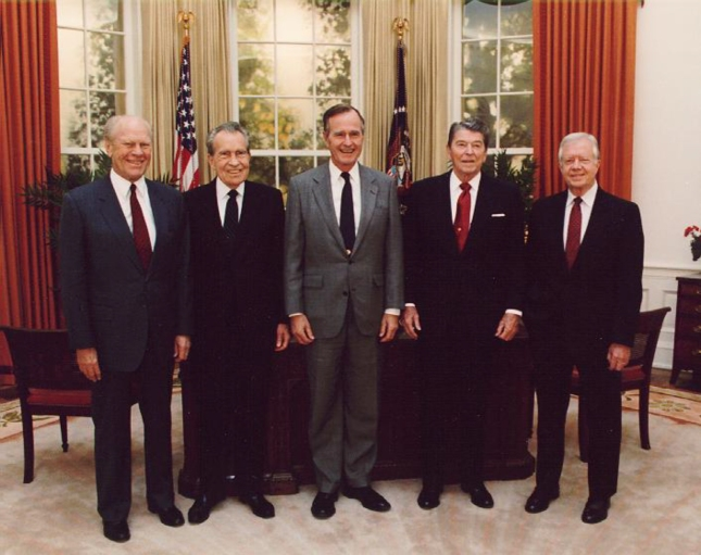 Presidents Bush Sr, Nixon, Reagen, Carter, Ford Together In 1991