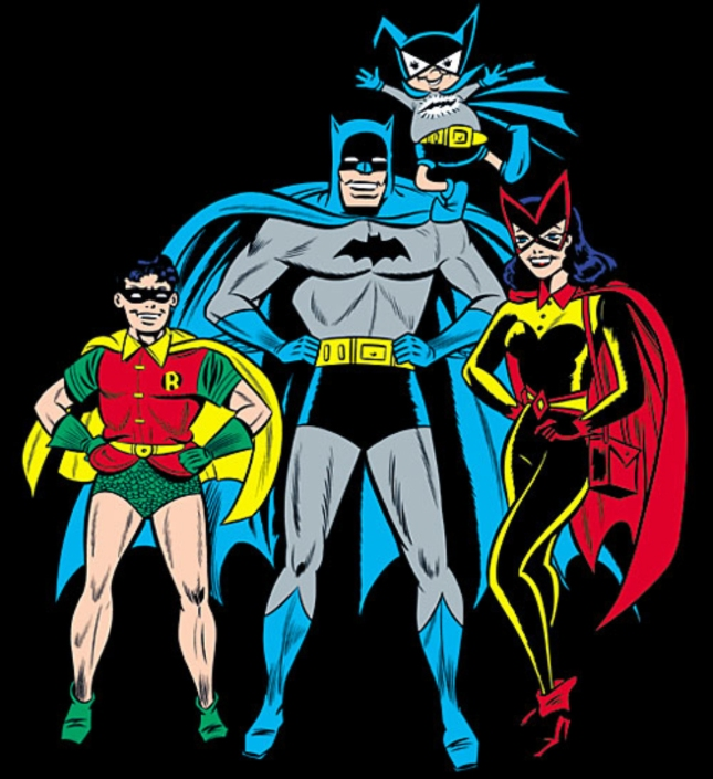 Batman Silver Age With Robin, Batgirl and Batmite. One Happy 1960s comicbook Family!