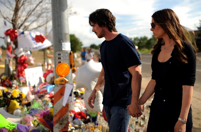 Christian Bale In Aurora Colorado Visiting Theater Shooting Memorial
