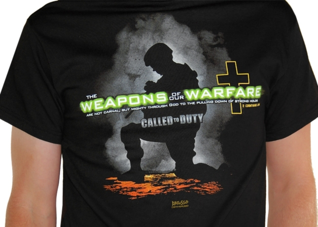 Christian Videogame Tshirt - Call of Duty Weapons of Our Warfare