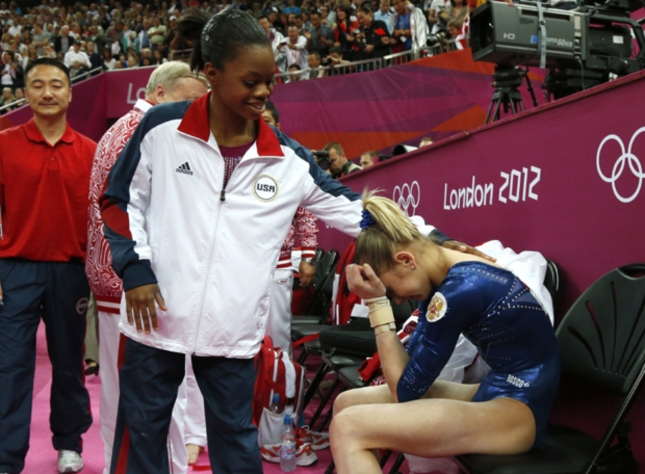 Victoria Komova Crying. Russian is Comforted by Gabby Douglas US Gymnastics Champion