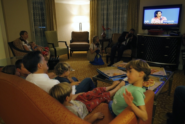 Mitt Romney and Grandkids Watch Condi Rice At the RNC 2012