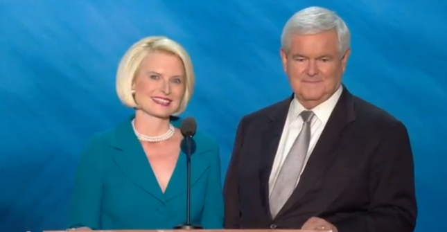 Newt & Callista Gingrich Ronald Reagen Tribute RNC2012 Speech Photo Pic