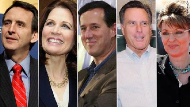 Popular Republicans 2012 Presidential Candidates Pawlenty, Bachmann, Santorum, Romney and Palin
