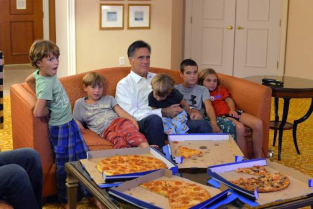 Romney Grandkids and Pizza
