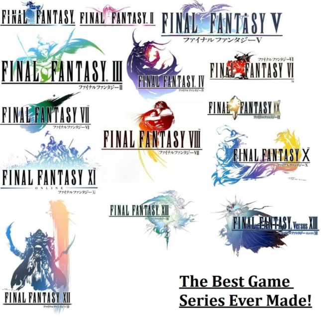 All Final Fantasy Logos Wallpaper (Core Main Games Plus Versus XIII)