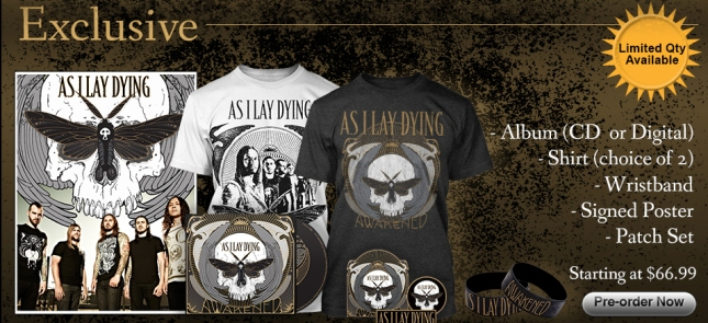 As I Lay Dying Awakened Bundle Tshirts, Signed poster, CD, Wristbands, Patches Set
