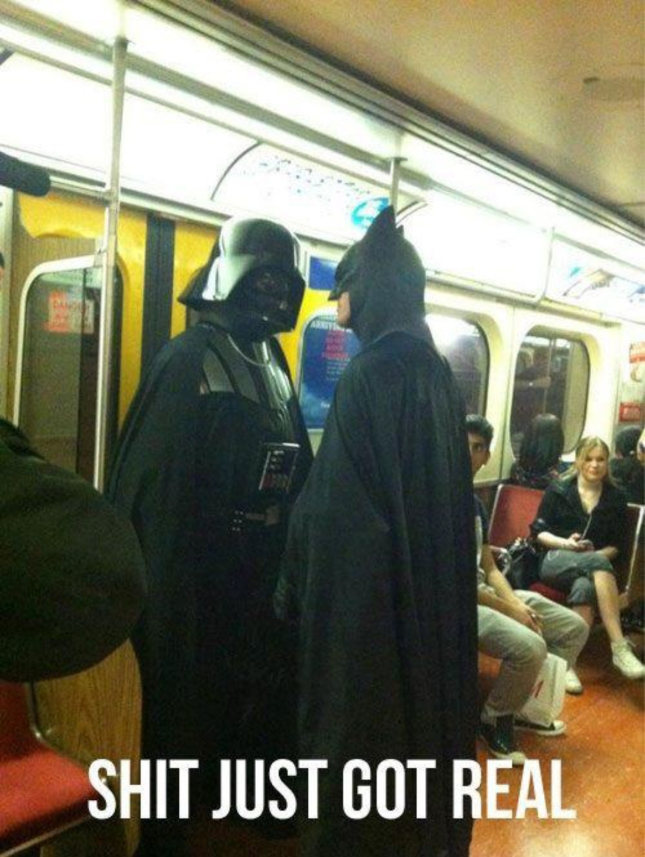 Batman vs Darth Vader Shit Just Got Real Cosplayers On Train Photo of the Day