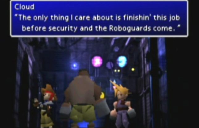 FFVII Characters Ingame Screenshot of Cloud and Barret