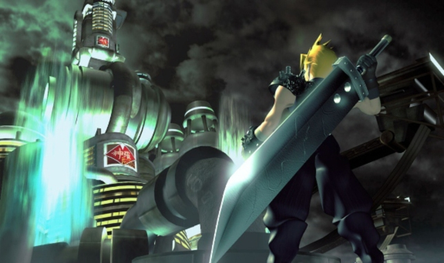 FFVII Iconic Cloud Artwork of Badass Big Sword (Wallpaper)