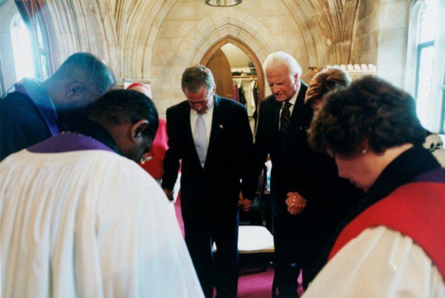 George W. Bush Billy Graham 911 Photo Praying At National Cathedral