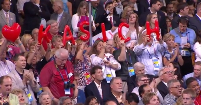 Ohio Loves John Kasich Letters Held Up In Audience of RNC2012 Speech From Governor John Kasich