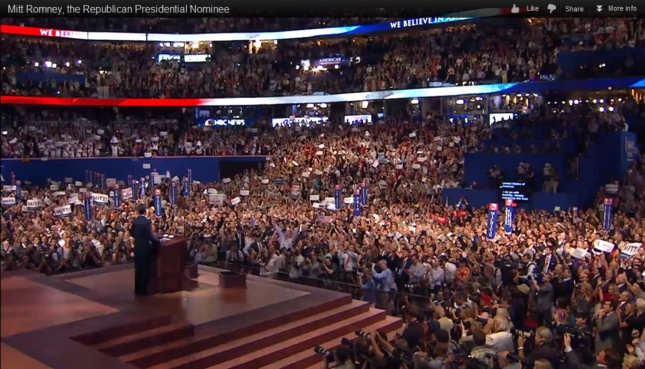 Mitt Romney RNC2012 Speech Photo With Epic Crowd For Biggest Speech of His Life