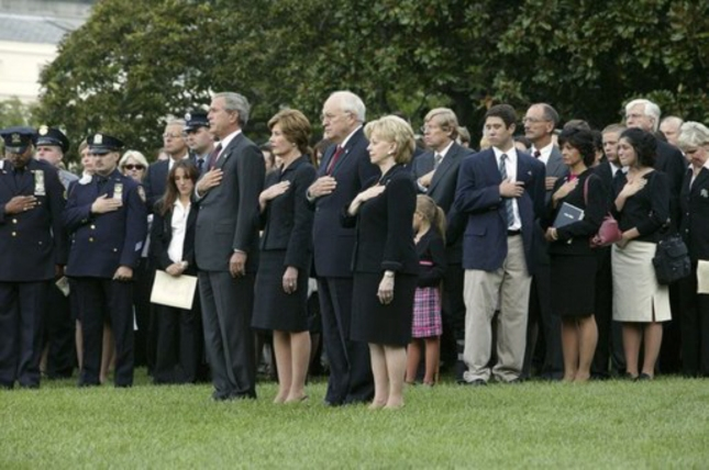 Remembering 911 President Bush, Cheney and wife Lynn, Laura Bush and September 11 victim families from 2004
