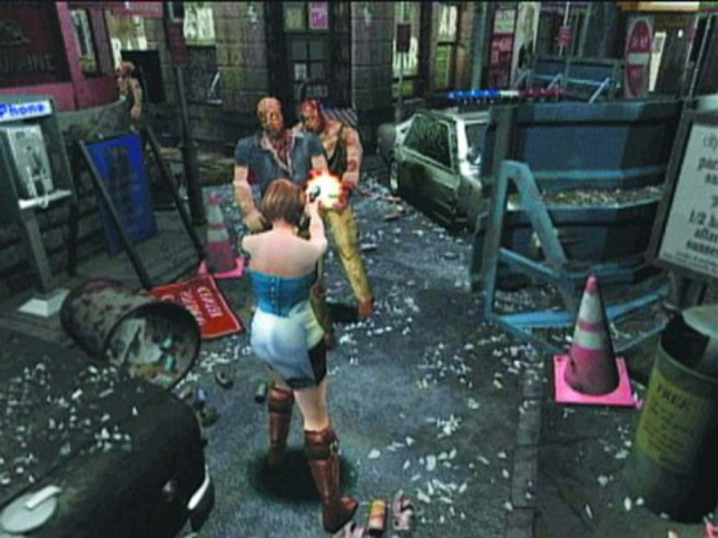 Resident Evil 3 Gameplay Screenshot of Jill and Zombies in the Streets of Raccoon City