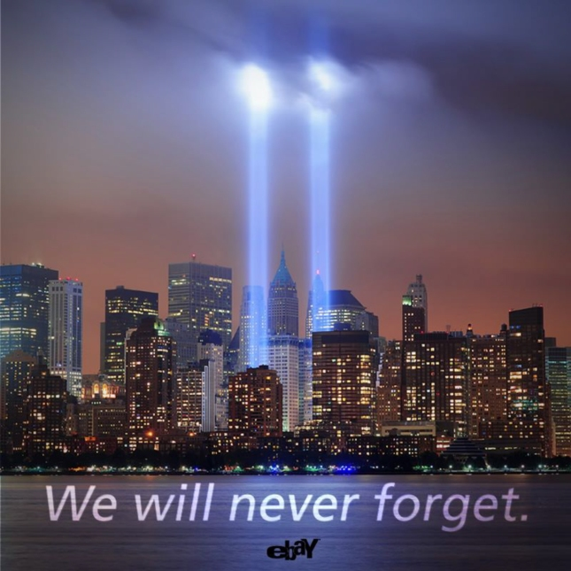 We Will Never Forget 9-11 Wallpaper - Twin Tower Lights September 11 2012 (ebay)