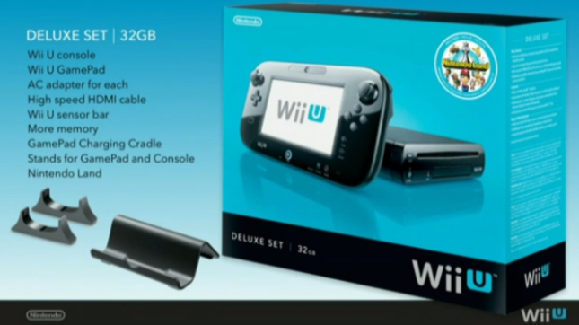 WiiU Deluxe Black Bundle With Nintendo Land Game. Includes 32GB Storage Space