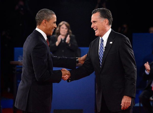 2nd Debate Handshake Obama Romney