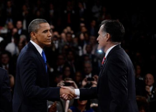 Final Presidential Debate Romney Obama Handshake