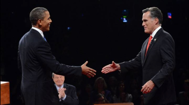 Obama Meets Romney Handshake Debate In Denver Colorado October 3 2012