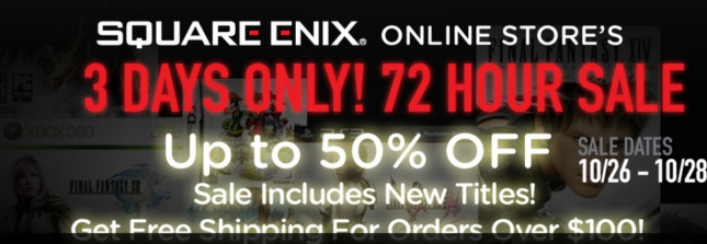 Square Enix Halloween 2012 Fall Sale on Digital Store for 3 Days Ending October 28th (Sunday)