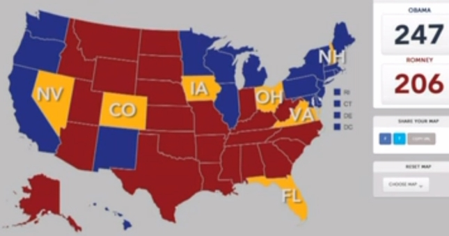 Battleground States Electoral College Presidential Election 2012