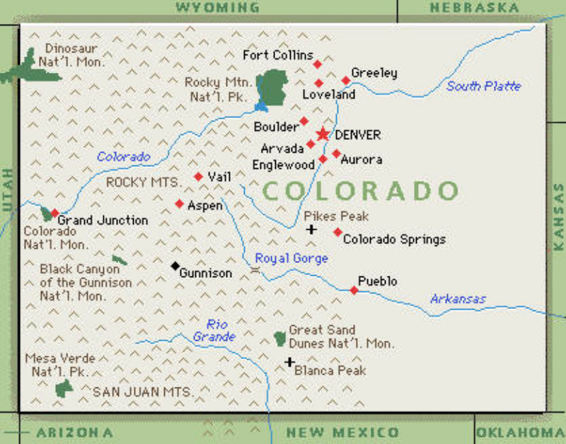 Cool Colorado State Map With Cities Swimnovacom - Colorado springs on us map