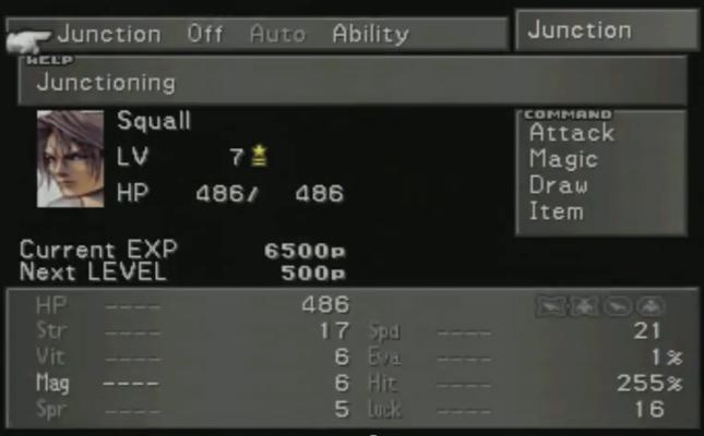 FFVIII Stats Junctioning Screenshot Final Fantasy VIII