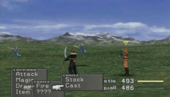 Final Fantasy VIII Battle Screenshot Draw Stock Magic Spells Squall Quistis