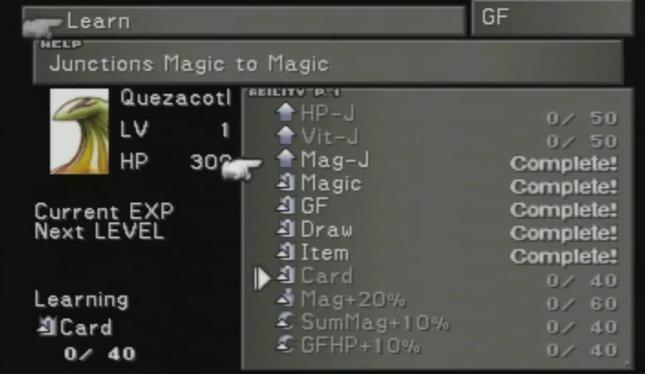 Final Fantasy VIII Quezacotl Guardian Force GF Ability Menu Screenshot FFVIII