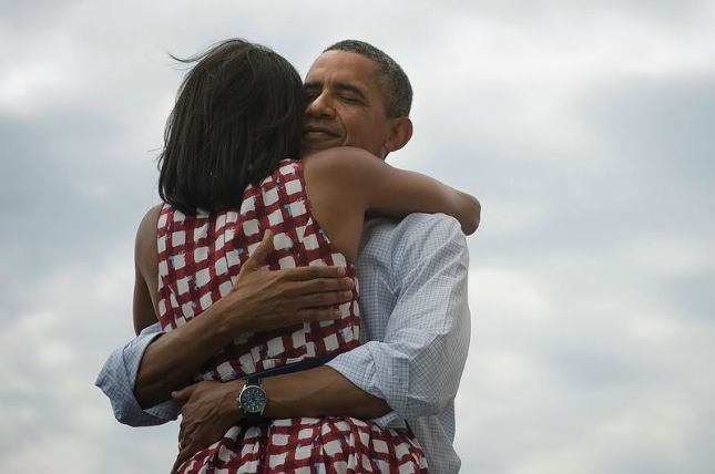 Obama hugs Michelle 2012 Reelection Photo