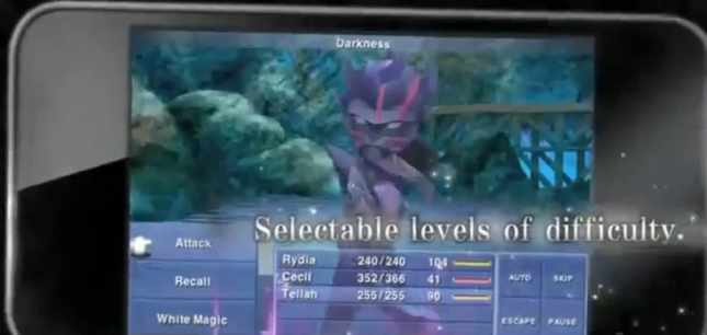 Final Fantasy IV IOS Screenshot Features Selectable Levels of Difficulty (iPod, iPad, iPhone)