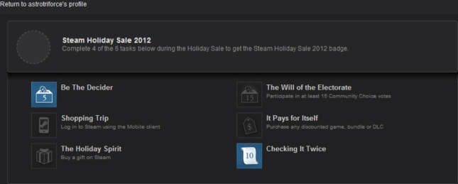 Steam Holiday 2012 Badge Incomplete - 2 Objectives Fulfilled Be the Decider Check It Twice