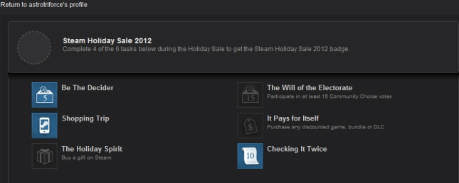 Steam Holiday 2012 Badge Shopping Trip Complete