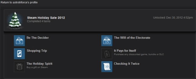 Steam Winter 2012 Badge Shopping Trip Objective Complete Badge Earned for 4 of 6 Tasks Done