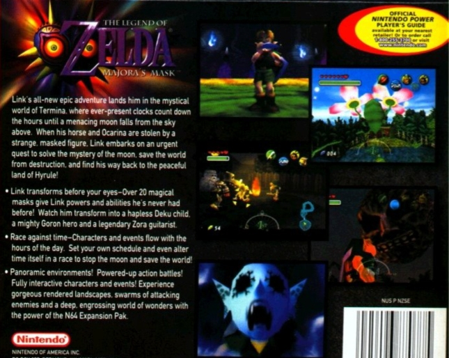 Zelda Majora's Mask Back of Box N64