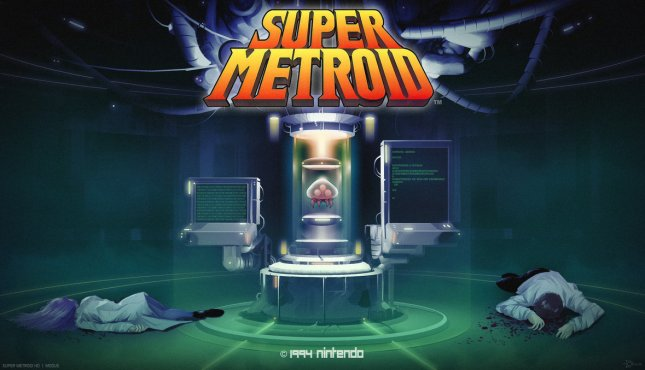 Metroid 3 Wallpaper Super Metroid Titlescreen Artwork by Modusprodukt
